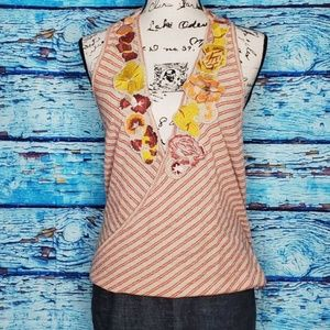 NWT Free People Striped Embroidered Tank Top SZ LG